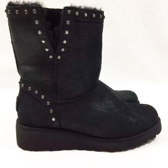 10a226e08aa UGG Australia CYD Black Studded Boots New Size 5